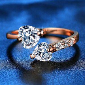 Anel Hot Venda Moda jóias duplo coração cheio de diamantes abertura do anel Tamanho das mulheres com Zircon
