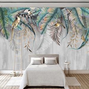 Custom Any Size Mural Wallpaper Modern 3D Nordic Style Plant Leaves Birds Photo Wall Mural Living Room Bedroom Home Decor Fresco