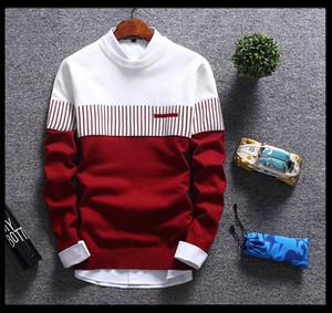 Männer Herbst und Winter mit Rundhalsausschnitt Gestreifte Kontrast Farbe Pullover Neue beiläufige Art und Weise warmer Pullover für Männer