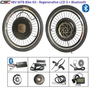 48V 1500W kit di conversione della bici elettrica 20-29inch 700C E bicicletta Hub Kit Motore Motore con display LCD e il bluetooth posteriore della parte anteriore del motore Kit ruote
