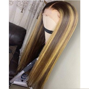 Lace Frontal Closure Wig Ombre Honey Blonde Highlight Hair Full Lace Wig PrePlucked Remy Silk Straight Peruvian Hair