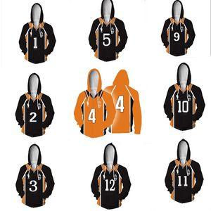 Anime Haikyuu Hoodie Kazak Ceket Cosplay 3D Baskı Coat Haikyuu Karasuno Lisesi Voleybol Kulübü Hinata Shoyo Kostüm