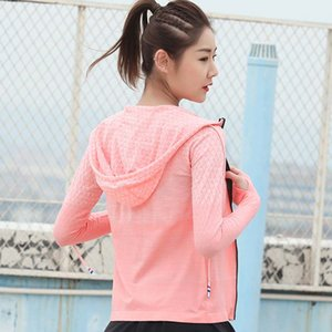 Laufende Frauen Zipper mit Kapuze Jacken Slim Fit Sport langärmeligen Coats Fitness Yoga Workout Trainning Übung Jacken P020