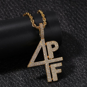 4PF Pendant Cubic Zirconia Micro Paved Four Pockets Full LilBaby CZ Bling Iced Out Necklace For Men Jewelry