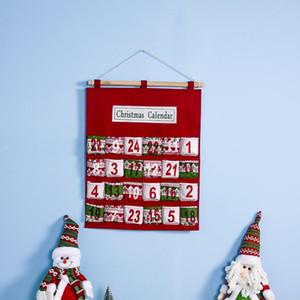 Red Christmas Advent Calendar Wall Hanging Xmas Ornament Impressão Saco dos doces Count Down admissão sacos do presente Decoração LJJA3229-2
