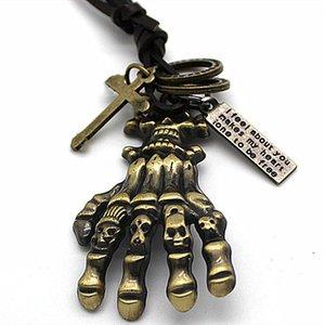 Designer Xiong The Walking Dead colares presente crânio do osso pingentes Mão Necklace For Men Man Jewelry