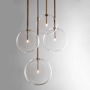 Phezen Modern Chandelier Lamps Loft Hanging Lights for Kitchen Island Lamp Luxury LED Glass Ball Pendant Lamp Suspension Set