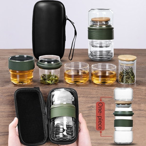 Bottiglia d'acqua borsa da viaggio cinese Kung Fu Tea Set Gaiwan Teiera Tazzine Fiera tazza di vetro Tea Set in ceramica Fot regalo Puer Bicchieri