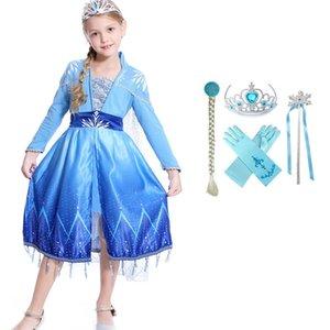 Congelato 2 Cosplay Per Teenage Girl Dresses nuovo anno di Natale del fiocco di neve Kid partito del merletto Elza principessa Frock bambini vestiti Disguise