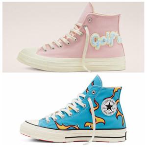 Converse x Golf Le Fleur 1970s 2020xiong sneaker henille Chamas Hi Homens Mulheres Estrela skateborad Shoes Moda GLF alta-de-rosa azul da lona Designers Sneakers36-44