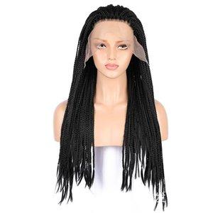 Sintetico Zhifan pizzo parrucca anteriore 3x Twist Trecce Trecce Box 18 -26inch nero termoresistente lunga Parrucche