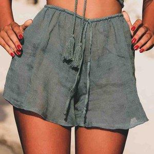 2019 New High Waist Women Beach Hot Shorts See Through Beachwear Cover Up Solid Color Women Swimwear Chiffon Shorts T200601