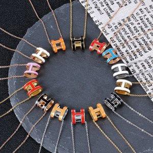 New H necklace titanium steel plating 18K rose gold letter necklace pendant set diamond clavicle chain stainless steel net red tide