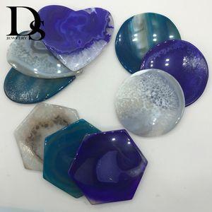 7-9 cm Doğal Akik Bardak Geode Dilim adyabatik Yuvarlak Fincan Mat Çanak Ekran Dekorasyon Için Altıgen Kristal Plaka Kalp Coaster