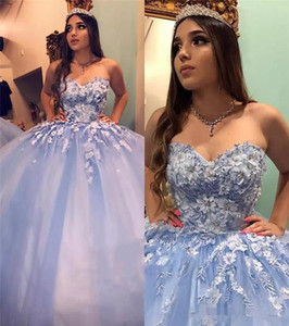 Vintage Sweet 16 Ball Gown Quinceanera Dresses Lace 3D Floral Cinderella Beaded Arabic Vestidos De 15 Anos Pro m EveningDresses Party Gowns