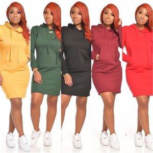 Damen-mit Kapuze Rock Spring Fashion Trend Langarm-lose mit Kapuze Strickjacke-Kleid-Entwerfer neuen weiblicher beiläufigen Normallack-Taschen-Short Skirt