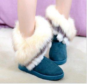 Sıcak Satış-2016 YENİ moda Kadın Çizme Gerçek Deri Gerçek Fox Kürk Bayan Kış Siyah Çizme Püskül Boot Kadın Patik kar botları F303