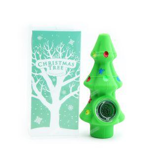 1pc Christmas Tree tabaco para cachimbo FDA silicone Tubos de fumo com bacia de vidro tubo de mão para presentes de Natal