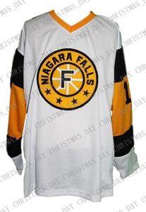 Personalizzato Niagara Falls Flyers Retro hokey Jersey New Bianco Personalizzato punto qualsiasi numero qualsiasi nome Mens Hockey Jersey XS-5XL