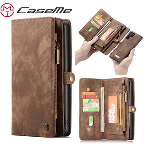 إلى Samsung Galaxy Note 10 Case CASEME Luxury Genuine Flip Zipper Leather Phone Bag لـ Galaxy Note 10 Plus Phone Wallet New