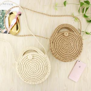 Ronde papier fait main Sac de plage d'été mini-Vintage Sac de Crossbody paille Knit filles Cercle rotin Petite Bohème Sac à bandoulière