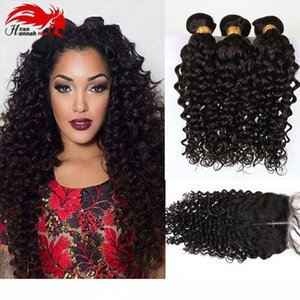 K Hot Selling Hannah Products Wave Hair Extension Virgin Peruvian Hair Bundle With Closure Mix Size Free Shipping Human Hair