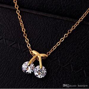 carino collane in oro moda donna collares in oro 18 carati / placcato oro bianco pendenti con ciondolo gioielli con catena gros collier collana pendente femme