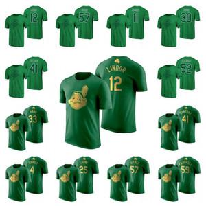 Camisetas del día 2020 de St Patrick de 12 Lindor Carlos Santana Shane Bieber José Ramírez Carlos Carrasco Franmil Reyes Baseball Jersey