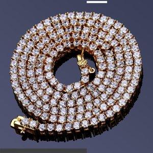 Micro Zircon Necklace Hip Hop Jewelry Single Row 2.5mm Man Necklace Tennis Chain
