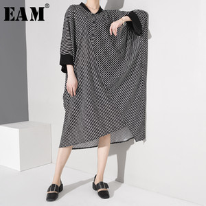 [EAM] Women Striped Big Size Shirt Dress New Stand Collar Three-quarter Sleeve Loose Fit Fashion Tide Spring Autumn2020 JR28301