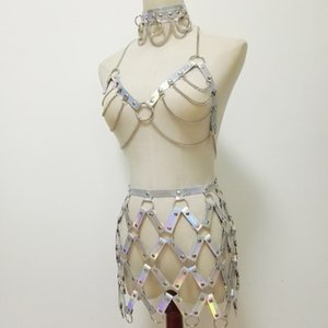Women Punk Harness Holographic Laser Leather Handmade Body Bondage Sexy fishnet skirt Chest belt fashion choker silver Chain Bra
