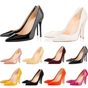 높은 품질의 디자이너 여성 신발 빨간색 바닥 하이힐 8 센치 메터 10 센치 메터 12 센치 메터 누드 블랙 레드 핑크 가죽 뾰족한 발가락 펌프 드레스 웨딩 신발