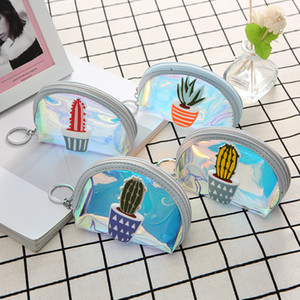 Laser Plant Clear Small Kids Holographic Women Jelly Coin Purse Fashion Cactus PVC Girls Card Bag For Handbag Purses Sceuw