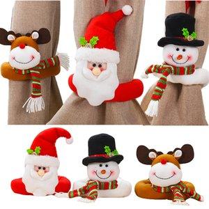 크리스마스 커튼 버클 크리스마스 창 커튼 Tiebacks 산타 눈사람 엘크 창 장식 와인 병 토퍼 장식품 JK1910