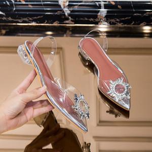meifeini yeni şeffaf sandalet 2019 yaz moda jöle kadın ayakkabıları elmas taklidi sivri düşük topuklu ayakkabılar düz Y200405