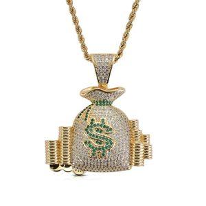 Livraison postale gratuite de bijoux en collier de zircon avec pendentif en forme de sac-monnaie symbole du dollar en hip-hop