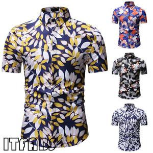 2020 estate Moda Uomo stampata floreale delle camice di vestito magliette casual manica corta spiaggia hawaiana Camicia degli uomini di formato camice M-3XL più