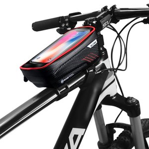 ABUO-WILD MAN Bicycle Bag Waterproof Press Screen Mobile Phone Cycling Front Top Tube Frame Cellphone Bike Accessory Panniers Bags