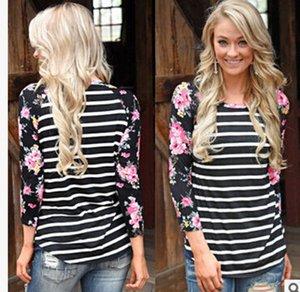 Damen Langarmshirts Gestreiftes Blumendruck Damen Rundhals T-Shirts Lässige Mode T-shirts Damenbekleidung