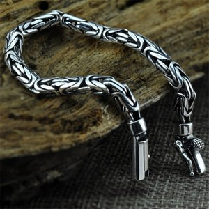 V.YA Genuine 100% Real Pure 925 Sterling Silver Men Bracelet Fashion Punk Style Thai Silver Bangle Bracelets Men Jewelry SH190925
