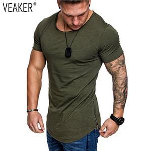 2020 New Men's Summer Fitness Tight T-shirts Male Hip Hop T shirt Streetwear Gyms bodybuilding zip Tops tshirt S-2XL