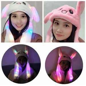 LED Plush Moving Rabbit Ears Hat Hand Pinching Bunny Ears Jumping Cap Kids Girls Women Sweet Cute Airbag Cap Party Hats