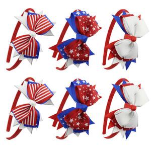 9 цветов американский флаг детские повязка на голову девушка в полоску звезды палочки для волос большой лук-узел ласточкин хвост волос луки головные уборы дети аксессуары для волос C6490