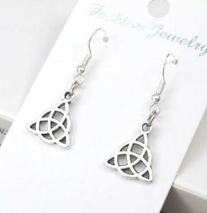 50pair 925 Sterling Silver Pesce Orecchio Ganci orecchini della lega irlandese Celtic Knot Eardrop orecchini di goccia punk per i monili delle donne Amicizia regalo