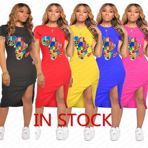 2020 Women Summer Dress Designer Map Pattern Fashion Dresses Sexy Bodycon Dresses Pleated Beach Casual Short Sleeve Dress Clothes D7108