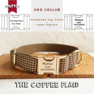 MUTTCO individuelle maßgeschneidertes Typenschild flexible Hundehalsband für kleine, mittlere große Hunde DES KAFFEE PLAID 5 Größen gravierten UDC072J