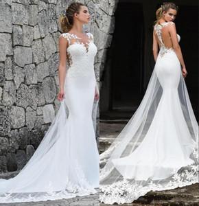 2020 abiti da sposa a sirena in pizzo con maniche trasparenti vintage tulle applique sweep treno abiti da sposa da spiaggia abiti da sposa BM1529