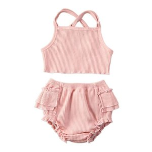 0-24M Summer Infant Baby Girls Boys Clothes Sets Ruffles Solid Sleeveless Belt Vest Tops+Shorts Outfit 3 Colors