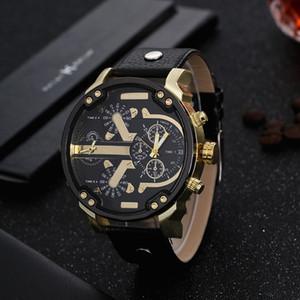 핫 큰 남성 시계를 두 번 운동을 다이얼 두 번 손목 시계 석영 시계 가죽 스트랩 군사 시계 선물 Relogio Masculino