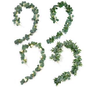 2M Wedding Decoration Artificial Plants Green Eucalyptus Vines with Rose Rattan artificial Fake Plants Ivy Wreath Wall Decor Vertical Garden